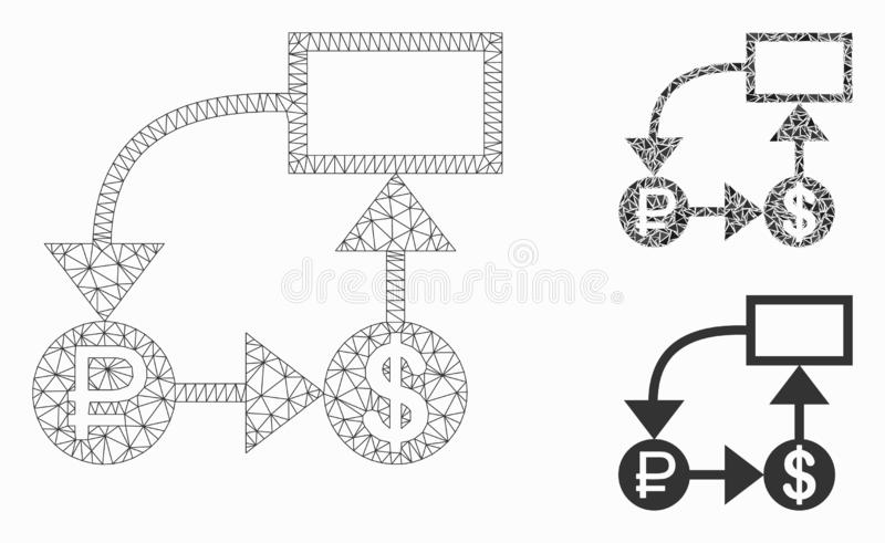 Rouble and Dollar Scheme Vector Mesh Carcass Model and Triangle Mosaic Icon. Mesh rouble and dollar scheme model with triangle mosaic icon. Wire carcass royalty free illustration