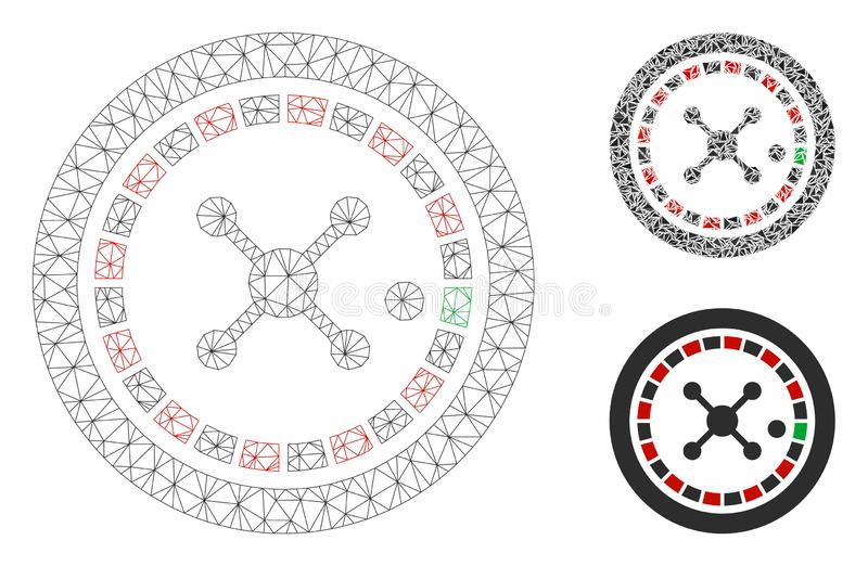 Roulette Vector Mesh Carcass Model and Triangle Mosaic Icon. Mesh roulette model with triangle mosaic icon. Wire carcass polygonal network of roulette. Vector vector illustration