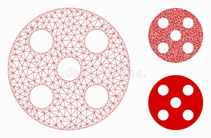Round Dice Vector Mesh Carcass Model and Triangle Mosaic Icon. Mesh round dice model with triangle mosaic icon. Wire carcass triangular mesh of round dice stock illustration