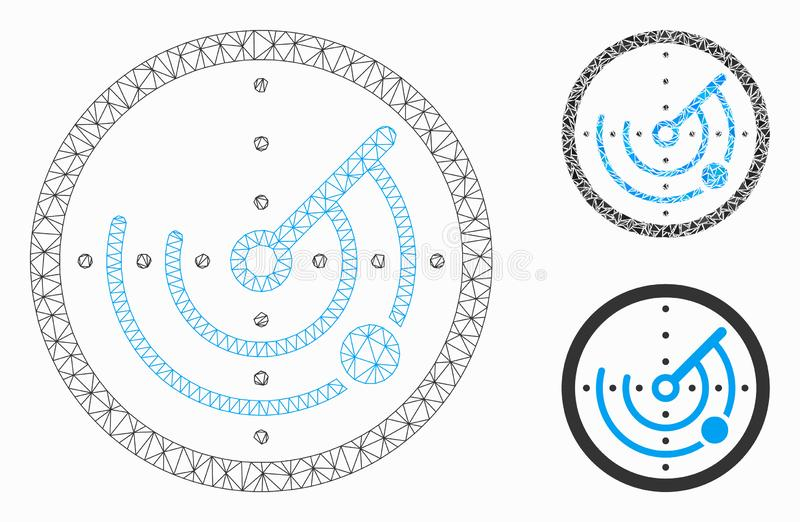 Round Radar Vector Mesh Carcass Model and Triangle Mosaic Icon. Mesh round radar model with triangle mosaic icon. Wire carcass polygonal mesh of round radar royalty free illustration