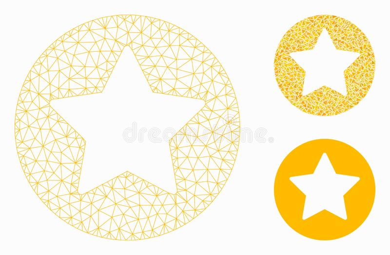 Rounded Star Vector Mesh Carcass Model and Triangle Mosaic Icon. Mesh rounded star model with triangle mosaic icon. Wire carcass triangular mesh of rounded star royalty free illustration