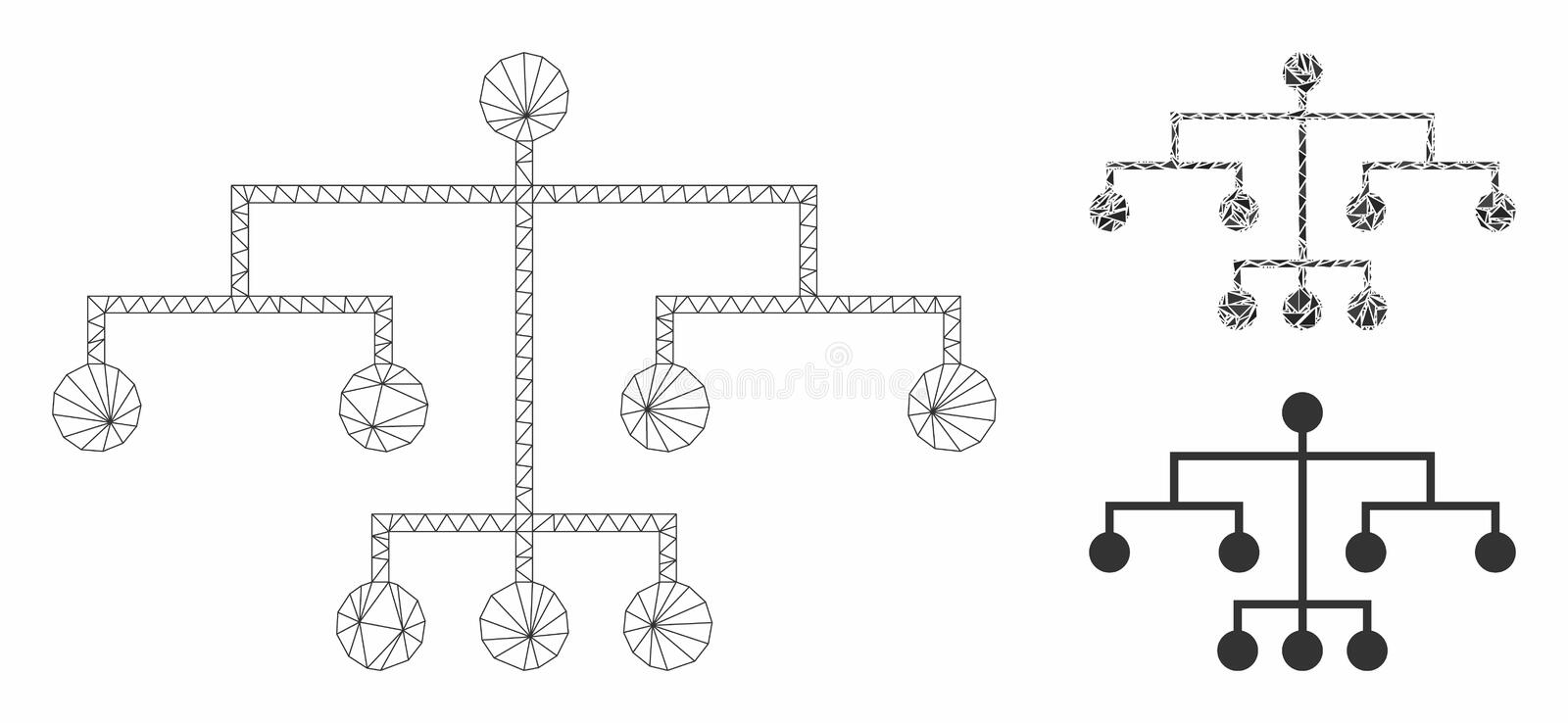 Script Tree Vector Mesh Wire Frame Model and Triangle Mosaic Icon. Mesh script tree model with triangle mosaic icon. Wire carcass polygonal mesh of script tree vector illustration