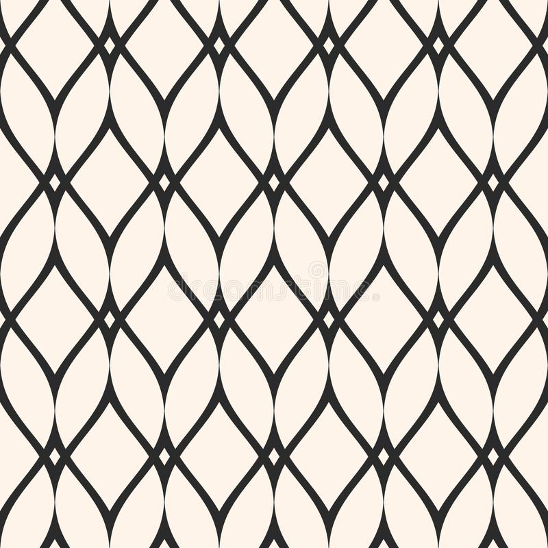 Mesh seamless pattern, thin wavy lines. Texture of lace, weaving. Smooth lattice. Subtle monochrome geometric background. Design for prints, fabric, cloth stock illustration