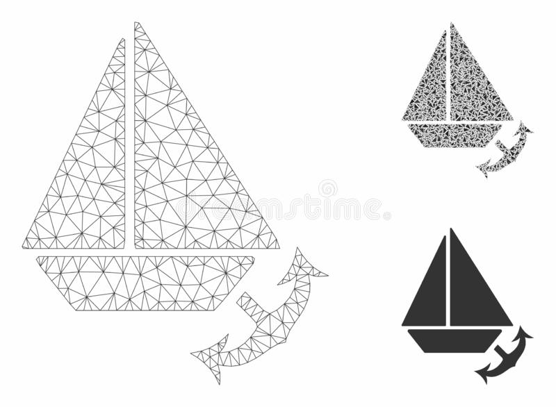 Seaport Vector Mesh 2D Model and Triangle Mosaic Icon. Mesh seaport model with triangle mosaic icon. Wire carcass polygonal mesh of seaport. Vector mosaic of royalty free illustration