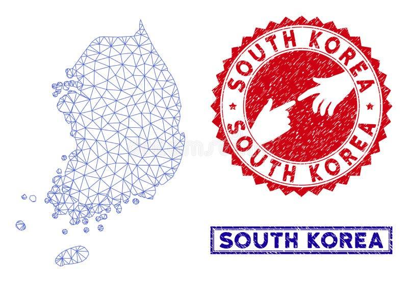 Mesh South Korea Map polygonal et timbres grunges illustration libre de droits