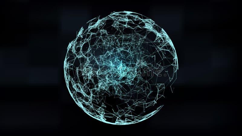 Mesh Sphere torcido iluminado 3d abstracto Muestra de neón Tecnología futurista HUD Element Elegante destruido stock de ilustración
