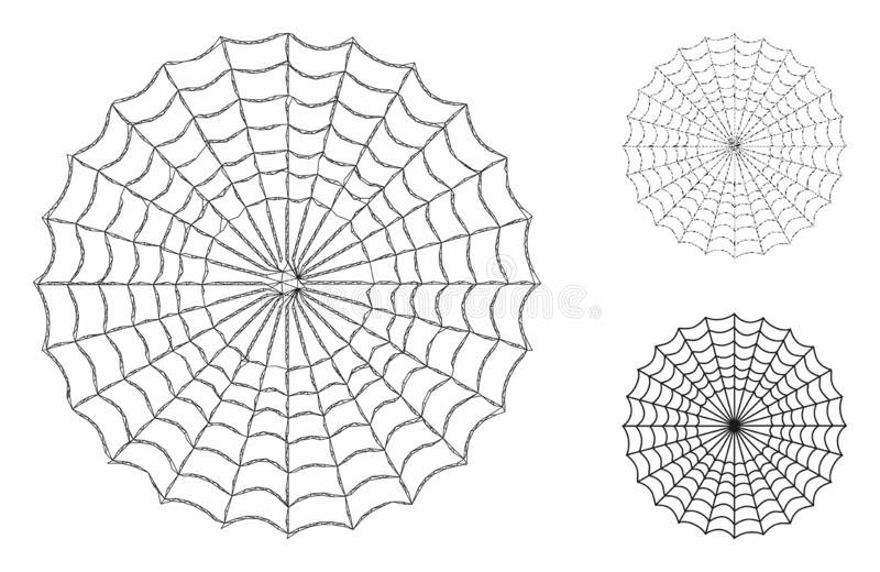 Spider Web Vector Mesh Network Model and Triangle Mosaic Icon stock illustration