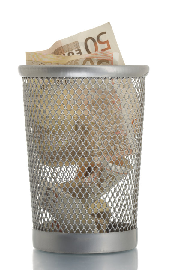 Mesh Trash Bin With Fifty Euro Stock Images