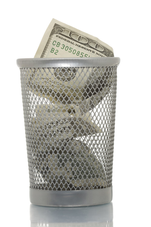 Download Mesh Trash Bin With Hundred Dollars Stock Photo - Image: 4453916