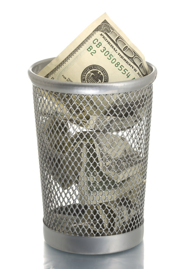 Mesh trash bin with hundred dollars stock image