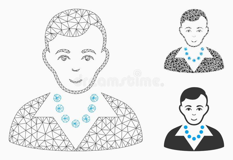 Trendy Guy Vector Mesh Carcass Model and Triangle Mosaic Icon. Mesh trendy guy model with triangle mosaic icon. Wire carcass polygonal mesh of trendy guy. Vector stock illustration
