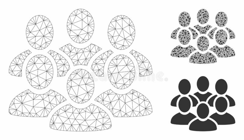 User Crowd Vector Mesh Wire Frame Model and Triangle Mosaic Icon. Mesh user crowd model with triangle mosaic icon. Wire carcass triangular mesh of user crowd royalty free illustration