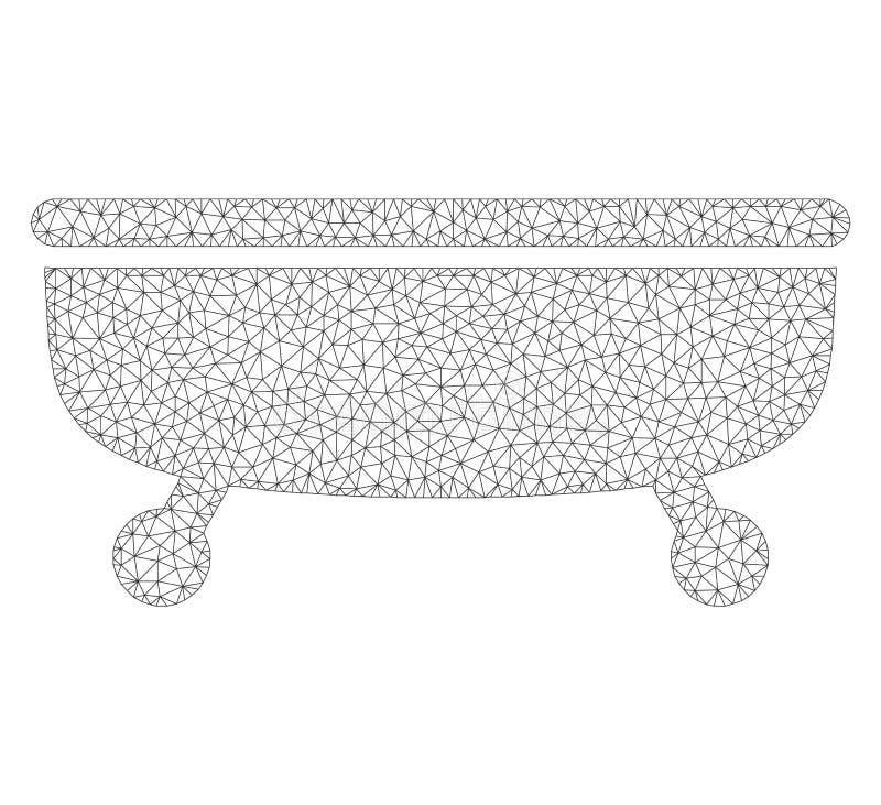 Mesh Vector Bathtub Icon illustrazione vettoriale