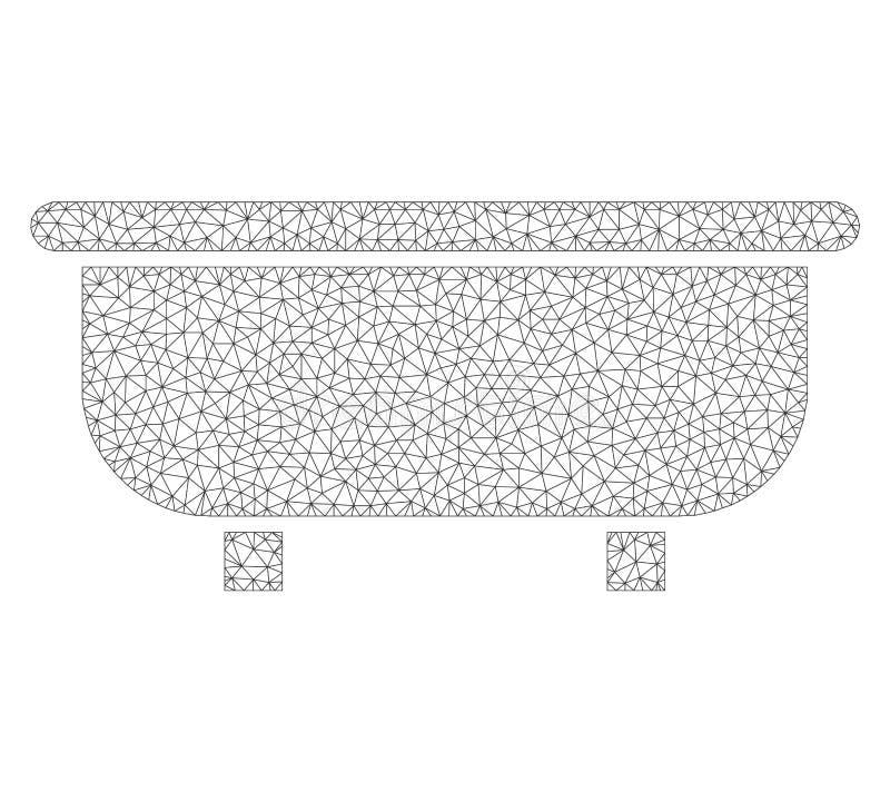 Mesh Vector Bathtub Icon illustrazione di stock