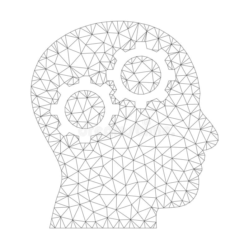 Mesh Vector Brain Gears Icon stock illustrationer