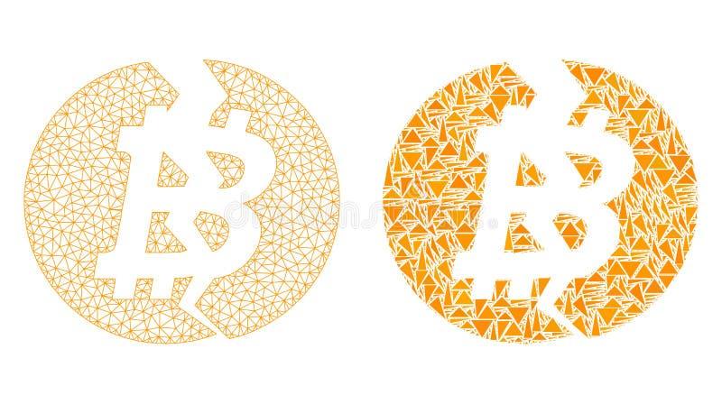 Polygonal Network Mesh Broken Bitcoin and Mosaic Icon vector illustration