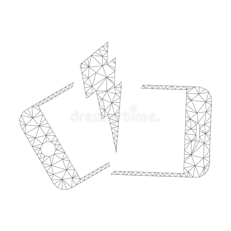 Mesh Vector Broken Smartphone Icon stock illustratie