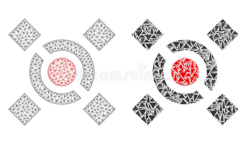 Polygonal Wire Frame Mesh Central Link and Mosaic Icon vector illustration