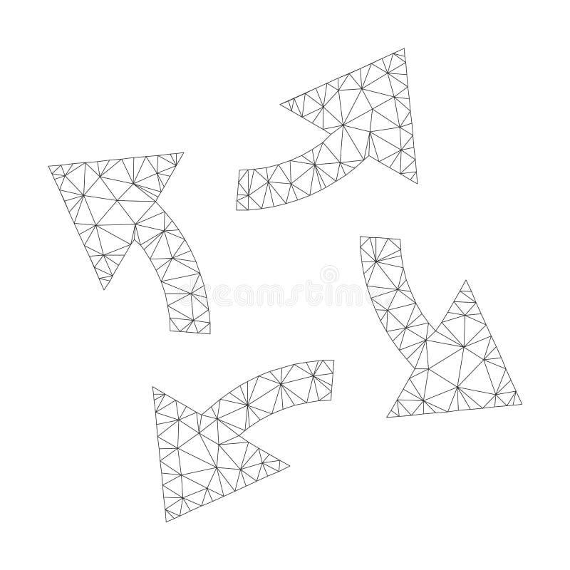 Mesh Vector Centrifugal Arrows Icon vektor illustrationer