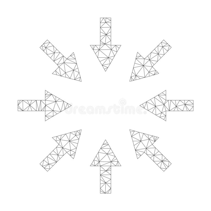 Mesh Vector Compact Arrows Icon vektor illustrationer