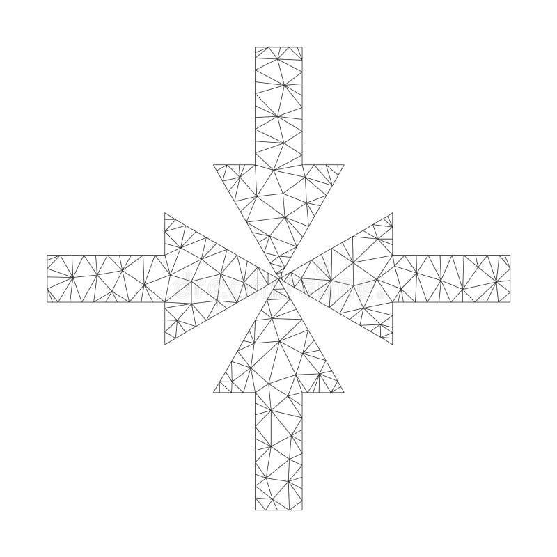 Mesh Vector Compress Arrows Icon royaltyfri illustrationer