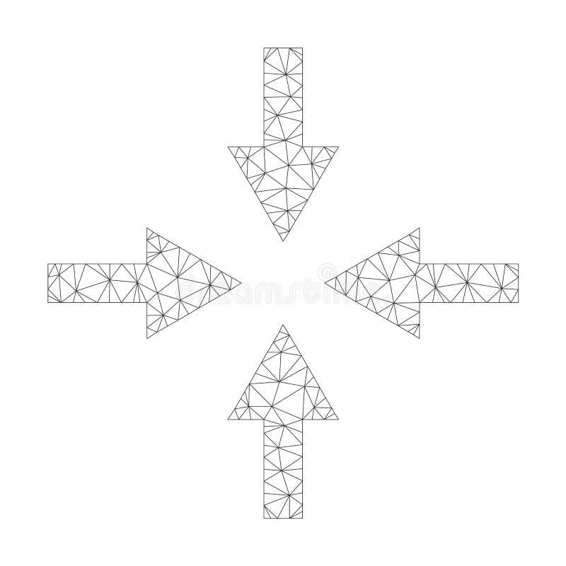 Mesh Vector Compress Arrows Icon vektor illustrationer