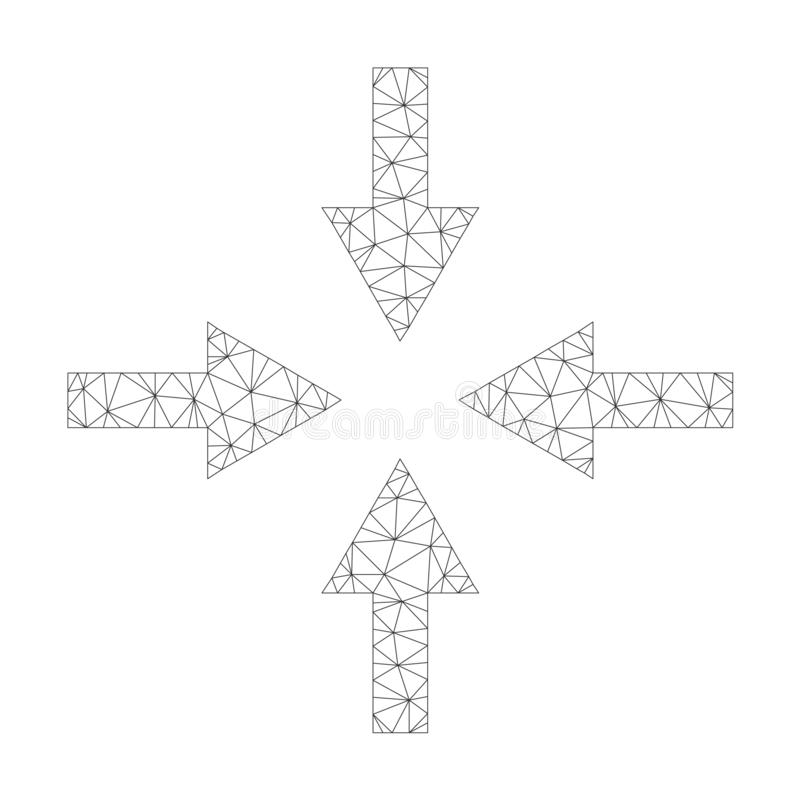 Mesh Vector Compress Arrows Icon. On a white background. Mesh carcass dark gray compress arrows image in lowpoly style with organized triangles, points and vector illustration