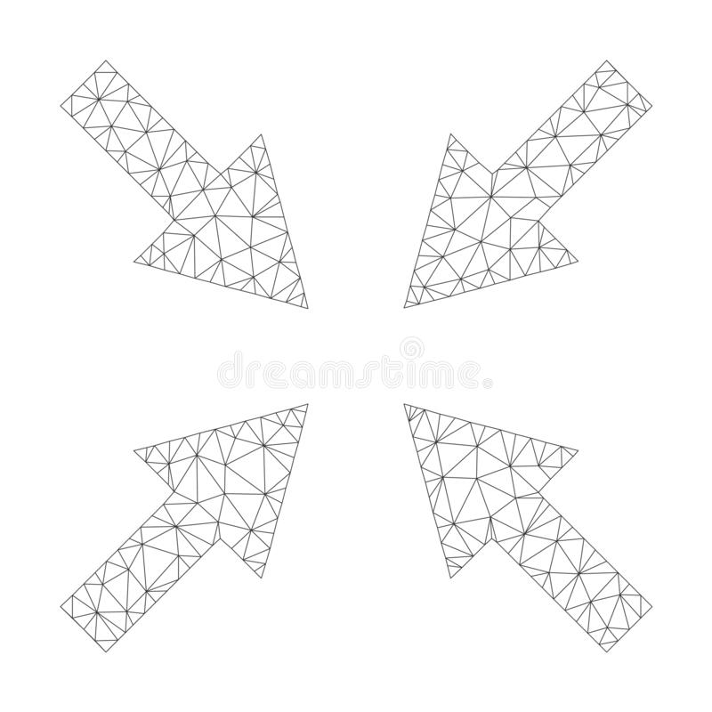 Mesh Vector Compress Arrows Icon. On a white background. Polygonal wireframe dark gray compress arrows image in lowpoly style with structured triangles, dots stock illustration