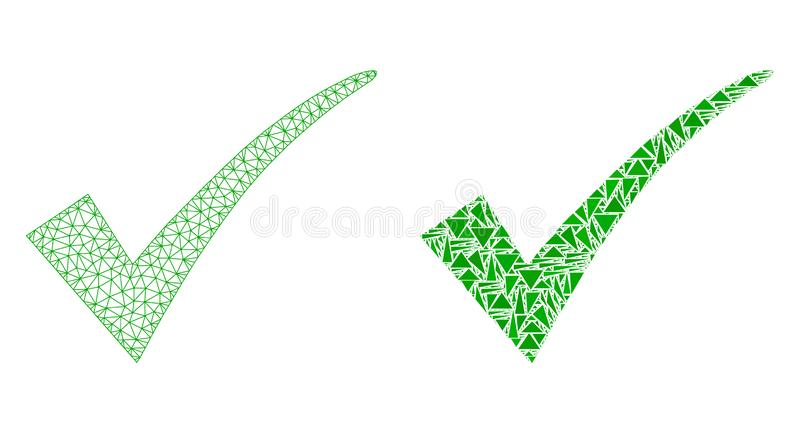 Polygonal Wire Frame Mesh Confirm Tick and Mosaic Icon royalty free illustration
