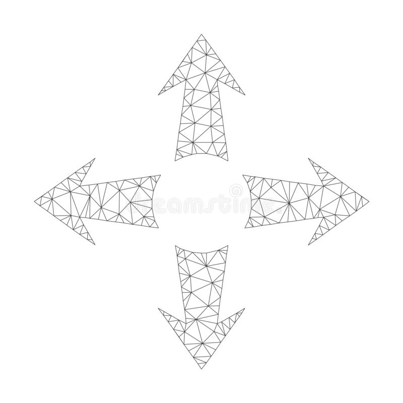 Mesh Vector Expand Arrows Icon stock illustratie