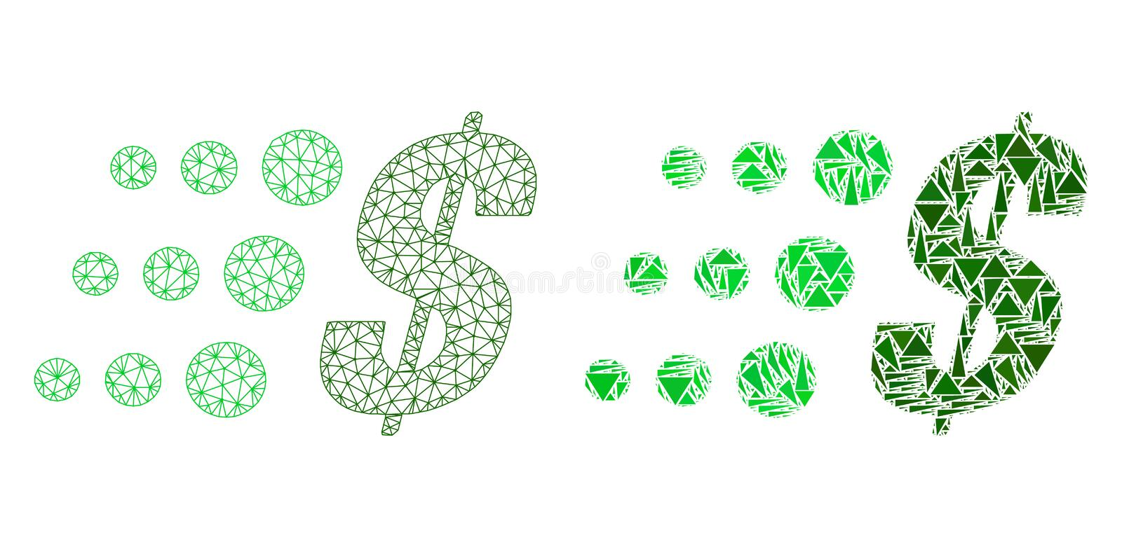 Polygonal Wire Frame Mesh Fast Dollar and Mosaic Icon vector illustration