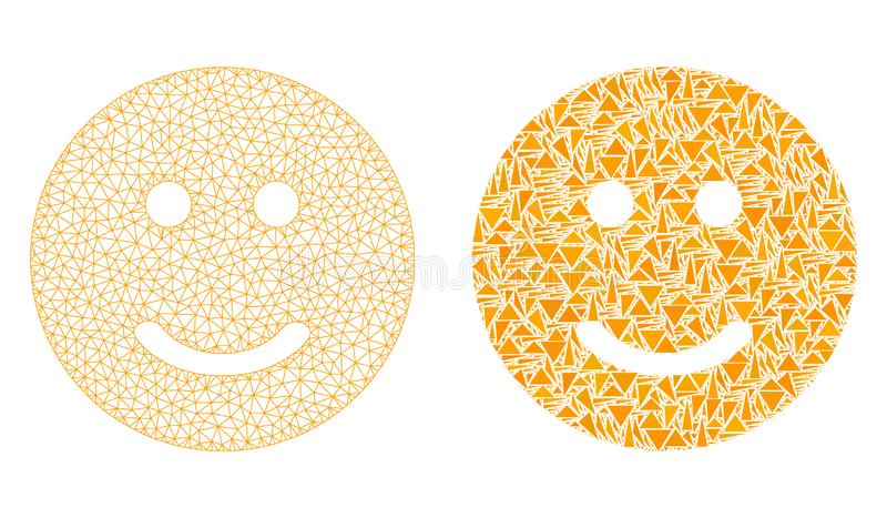 Polygonal Carcass Mesh Glad Smiley and Mosaic Icon. Mesh vector glad smiley with flat mosaic icon isolated on a white background. Abstract lines, triangles, and vector illustration