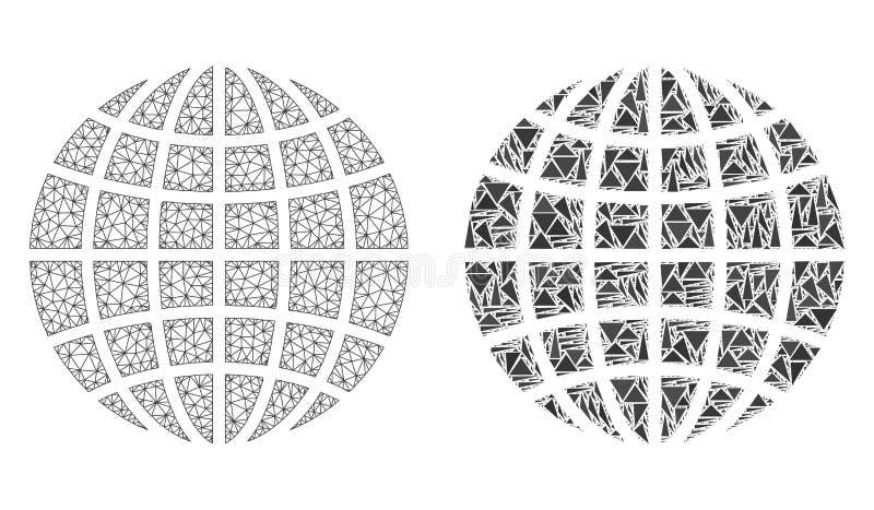 Polygonal Network Mesh Globe and Mosaic Icon stock illustration