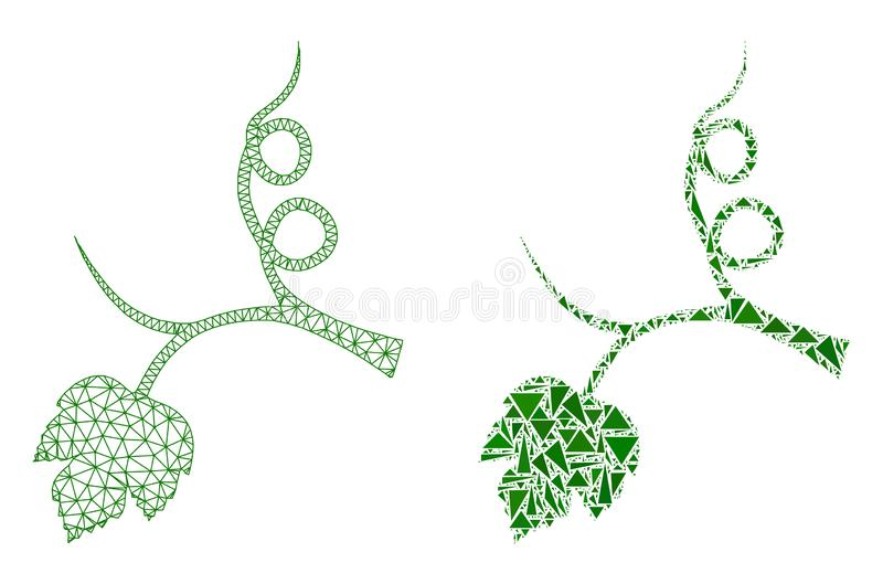 Polygonal Wire Frame Mesh Grape Sprout and Mosaic Icon vector illustration