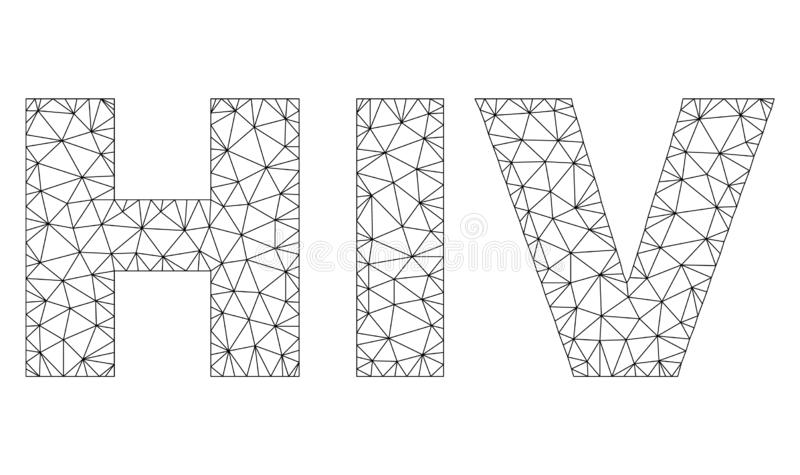 Polygonal Network HIV Text Label. Mesh vector HIV text. Abstract lines and spheric points form HIV black carcass symbols. Wire carcass flat polygonal mesh in eps vector illustration