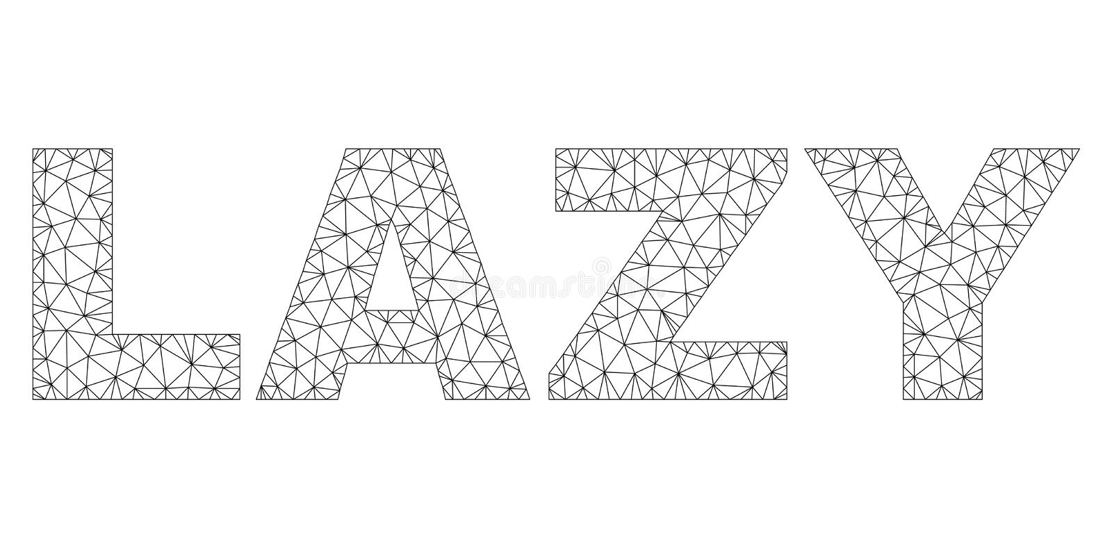 Polygonal Carcass LAZY Text Tag. Mesh vector LAZY text. Abstract lines and points are organized into LAZY black carcass symbols. Linear carcass 2D triangular stock illustration