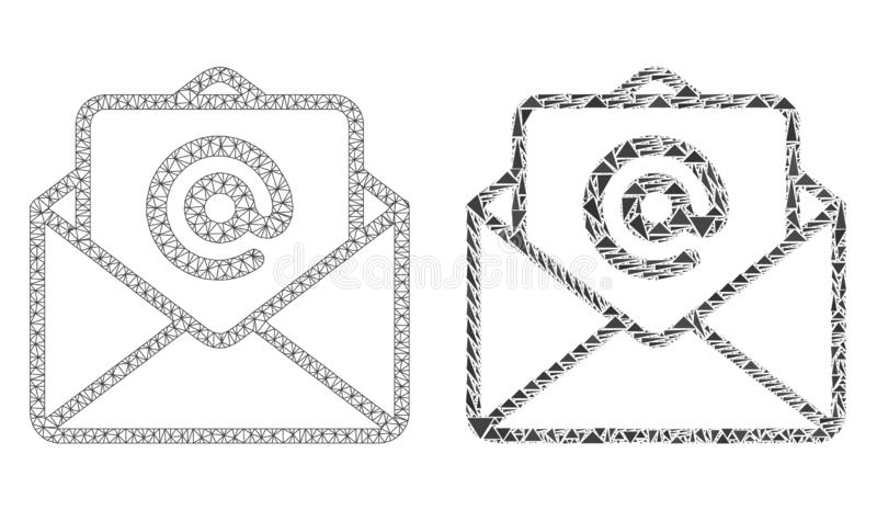 Polygonal Wire Frame Mesh Open E-Mail and Mosaic Icon vector illustration
