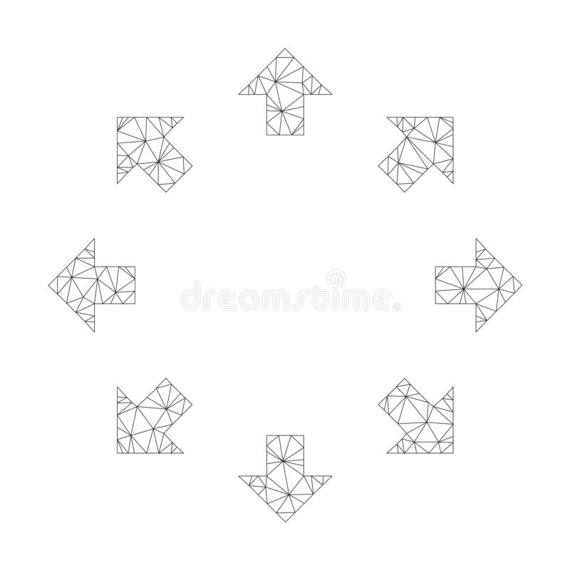 Mesh Vector Radial Arrows Icon illustration libre de droits