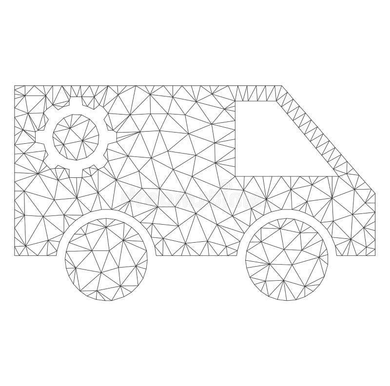 Mesh Vector Service Car Icon vektor illustrationer