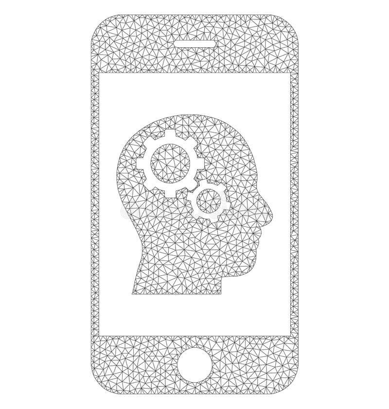 Mesh Vector Smartphone Intellect Gears-Pictogram vector illustratie