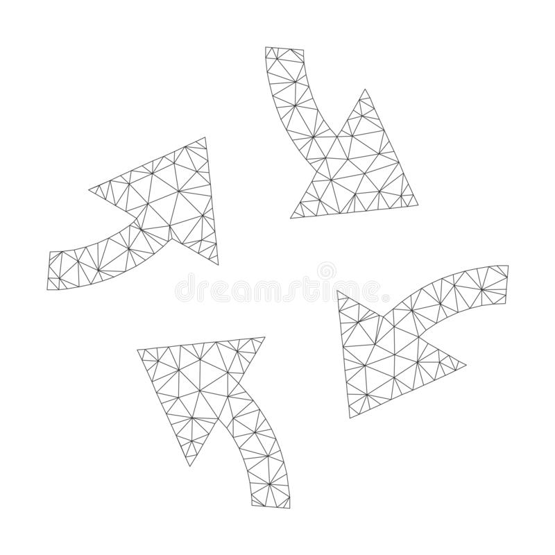 Mesh Vector Swirl Arrows Icon stock de ilustración