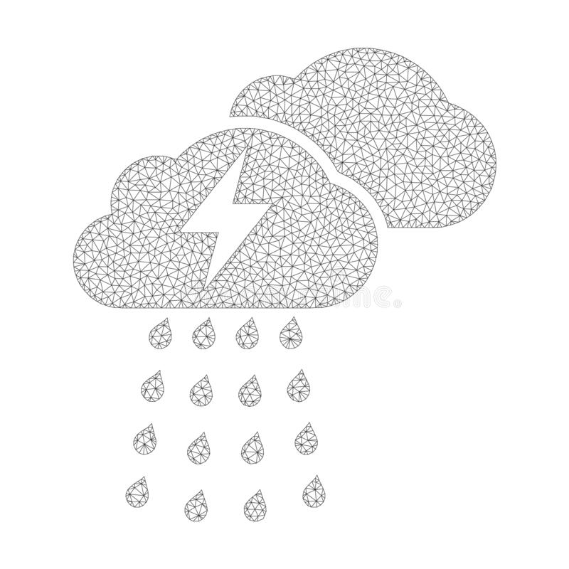 Mesh Vector Thunderstorm Clouds Icon ilustración del vector