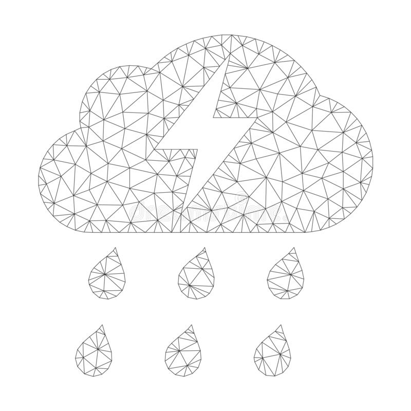 Mesh Vector Thunderstorm Icon libre illustration