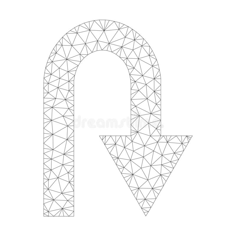 Mesh Vector U vändsymbol royaltyfri illustrationer