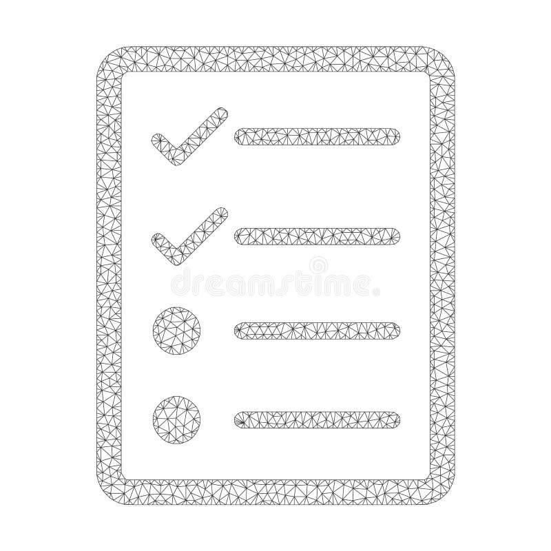 Mesh Vetora Checklist Page Icon ilustração stock