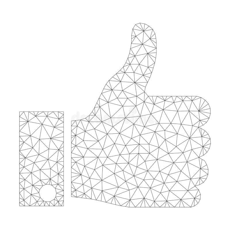 Mesh Vetora Thumb Up Icon ilustração stock