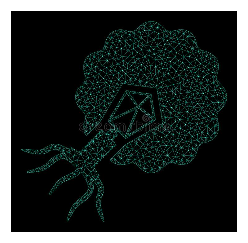 Mesh Virus Infecting Cell in Polygonal 2D Vector Style. Polygonal mesh virus infecting cell. Abstract lines, triangles and points combined into virus infecting stock illustration