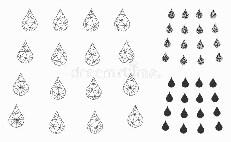 Water Drops Vector Mesh Network Model and Triangle Mosaic Icon. Mesh water drops model with triangle mosaic icon. Wire frame polygonal mesh of water drops royalty free illustration
