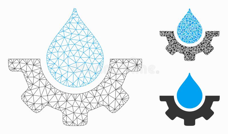 Water Service Vector Mesh Wire Frame Model and Triangle Mosaic Icon. Mesh water service model with triangle mosaic icon. Wire carcass triangular mesh of water vector illustration