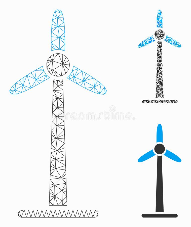 Wind Power Generator Vector Mesh 2D Model and Triangle Mosaic Icon stock illustration